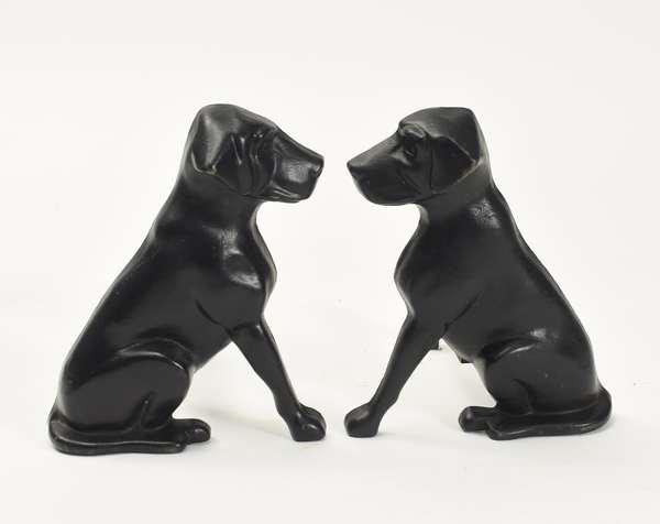 """Liberty Mfg. figural dog andirons 13.5""""H."""