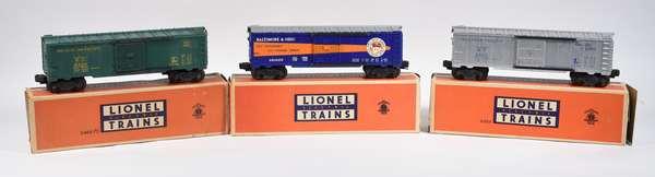 Lionel Postwar Boxcars, 6464-1 Western Pacific, 6464-75 Rock Island, 6464-400 B & O Timesaver, OB