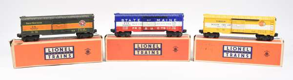 Lionel Postwar Boxcars, 6464-275 State of Maine, 6464-500 TimKen, 6464-450 Great Northern, OB