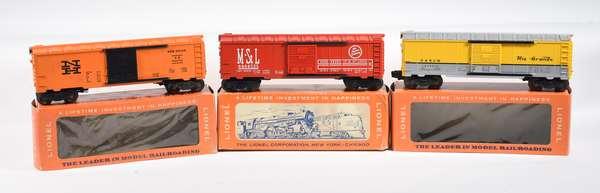 Lionel Postwar Boxcars, 6464-650 Rio Grande, 6464-525 M. & St.L., 6464-725 New Haven, OBS