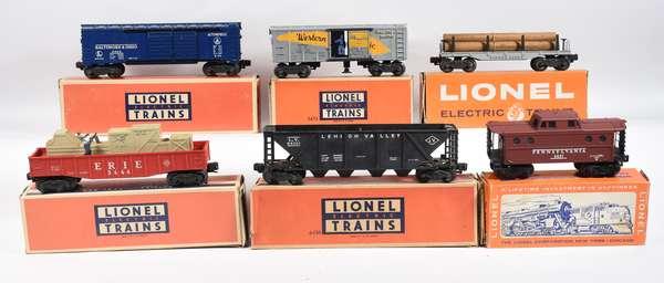 Lionel Postwar Freights, 6437, 3474, 6436, 3444, 6411, 6468, OBS