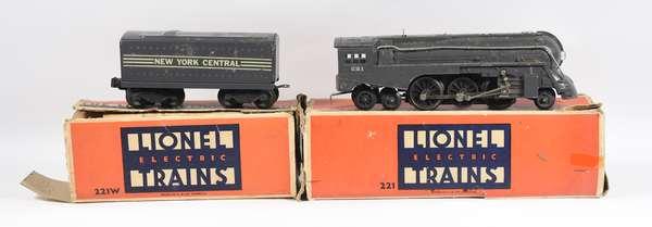 Lionel 221 2-6-4 gray steam locomotive, tender, OBS