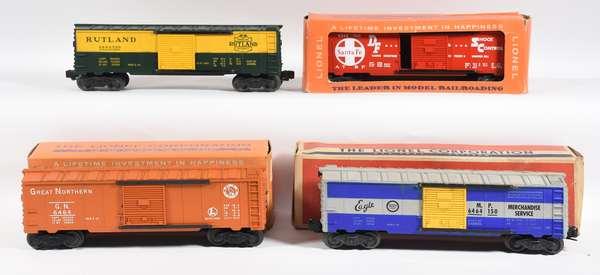 Lionel Postwar Boxcars, 6464-300 Rutland, 6464-700 Santa Fe, 6464-150 Missouri Pacific, 6464-25 GN, 3 OB