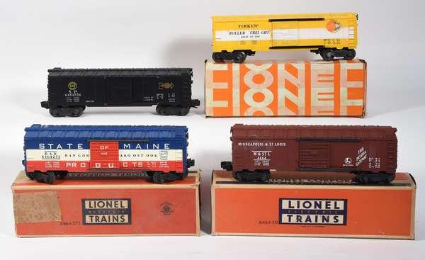 Lionel Postwar Boxcars, 6464-225 S.P., 6464XXXXXM. & St.L., 6464-275 State of Maine, 6464-500 TimKen, 3 OBS