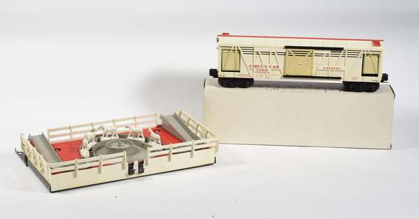 Lionel Circus Car Corral Set 3366, with white horses