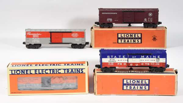 Lionel Operating Boxcars, 3494-1 NYC, 3484 Penn., 19816 Madison Hardware, 3494-275 State of Maine, 3 OBS