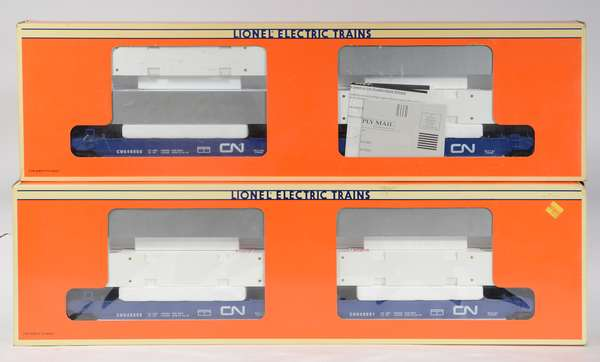 Lionel 16912 (2) CN Maxi-Stack Flatcar Sets with containers, OBS