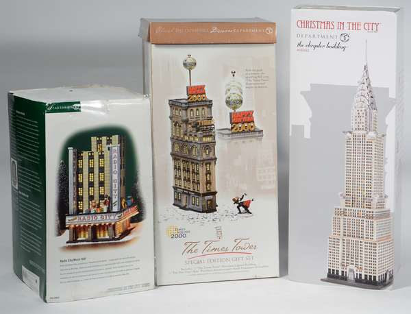 Dept. 56 Buildings, Times Tower, Chrysler Building, Radio City Music Hall, OBS