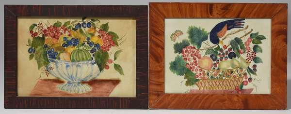 """Two antique theorem paintings on velvet in grain painted frames, 11"""" x 15.5"""" and 10"""" x 14"""""""