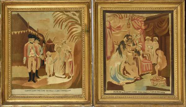 """Two early crewel works on silk, """"Tippo Sabis' Two Sons Delivered up to Lord Cornwallis"""" and """"Return of Tippo Sabis' Two Sons to Their Mother"""", 13"""" x 11.5"""""""