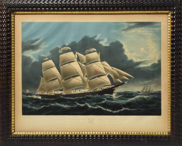 """N. Currier lithograph, """"Clipper Ship Dreadnought Off Tuskar Light"""", 20"""" x 27"""" in ripple cut frame"""