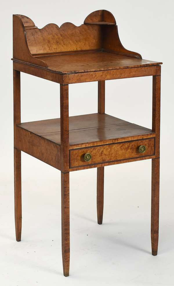 """Federal one drawer bird's eye maple one drawer wash stand in old color, ca. 1810, 39""""H. x 17""""L. x 17""""W."""