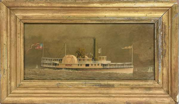 """Small oil on canvas, the paddle wheeler """"Rose"""", with American flag, 4.25"""" x 9.25"""""""