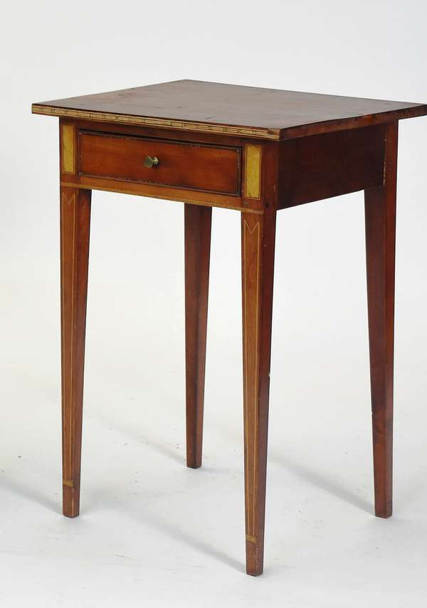 """Federal inlaid cherry one drawer stand, with banded and other inlays, ca.1800, 17""""W. x 17""""L. x 26.5""""H."""