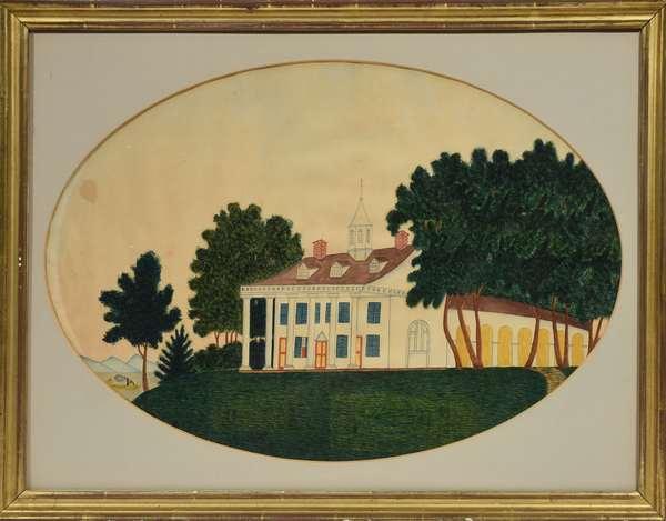 "19th C. watercolor, primitive view of Mount Vernon, 14"" x 20"" sight; Roland Barnard provenance"