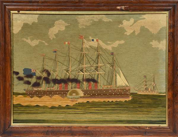 """19th C. British sailor's wooley, or embroidered ship picture, steamship paddle wheeler, with pearls, 23.5"""" x 32.5"""""""