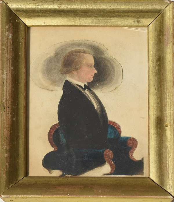 """19th C. miniature watercolor portrait of a gentleman seated in chair, by James Sanford Ellsworth, 4"""" x 3"""""""