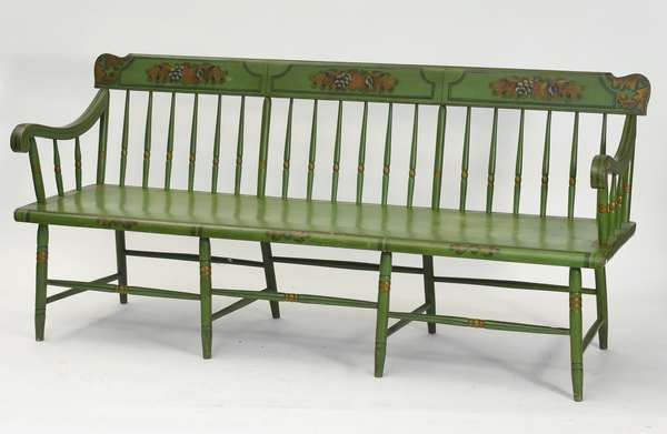 """19th C. PA Deacon's bench, early paint decorated in green, with single plank seat, 76""""L. x 21""""W. x 36""""H."""
