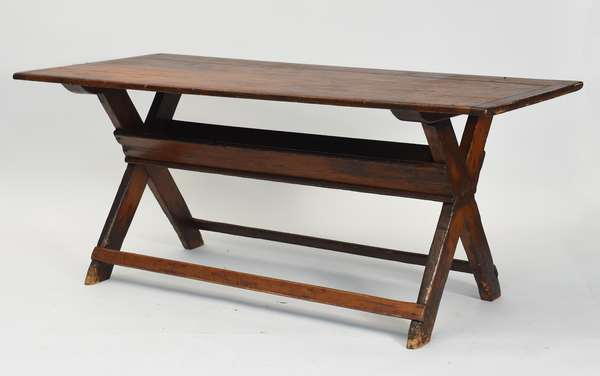 """Good 18th C. country saw buck table with breadboard ends, 71.5""""L. x 30.5""""W. x 30""""H."""