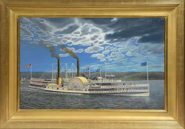 """Oil on canvas, the Hudson River steamship paddle-wheeler """"Mary Powell"""" by Albert Nemethy, 24"""" x 36"""""""