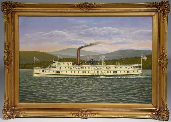 """Oil on canvas, the steamship paddle-wheeler """"Ida"""" by Albert Nemethy, 24"""" x 36"""". A Confederate ship that sailed the Savannah River in Georgia on military duties until she was captured and burned by Union forces in Dec. 1864"""