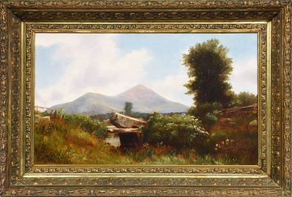 """19th C. oil on canvas of Mt. Kearsarge signed B. Champney, (Benjamin Champney) 19.5""""W. x 11.75""""H."""