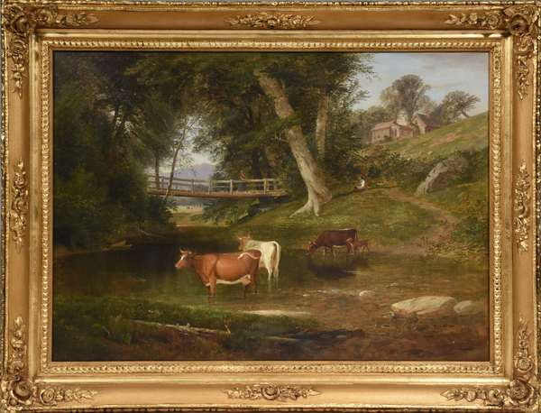 """Large oil on canvas, cows in stream with bridge, figures, and mountain view, in large ornate gilt frame, signed S.L. Gerry and dated 1857, 35.5""""W. x 25.5""""H."""
