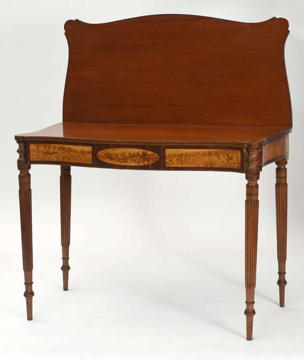 """Fine North Shore/Boston Federal card table with flame birch inlaid front frieze well formed reeded legs, ca.1810, 36.5""""L. x 17.75""""D. x 29""""H."""