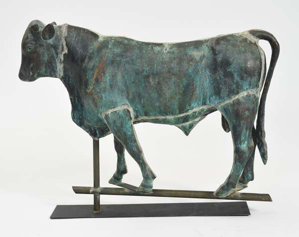 """Early 20th C. copper bull weathervane with verdigris finish, 25""""L. x 20""""H."""