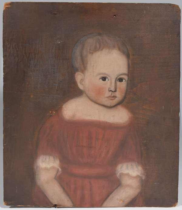 """Oil on wood panel, portrait of child in red dress, the youngest child of Sarah Thompson Gardner born Pownal VT, painted by Ralph D. Curtis, ca. 1835-1840, 19"""" x 16.5""""  (see article by J.E. Jeninek on Ralph D. Curtis, a 19th C. Skaneateles NY folk painter)"""