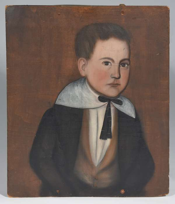 """Oil on wood panel, portrait of Theodore Adolphus Gardner, son of Sarah Gardner of Pownal VT, painted by Ralph D. Curtis, 20"""" x 17"""", (see article by J.E. Jeninek on Ralph D. Curtis, a 19th C. Skaneateles NY folk painter)"""