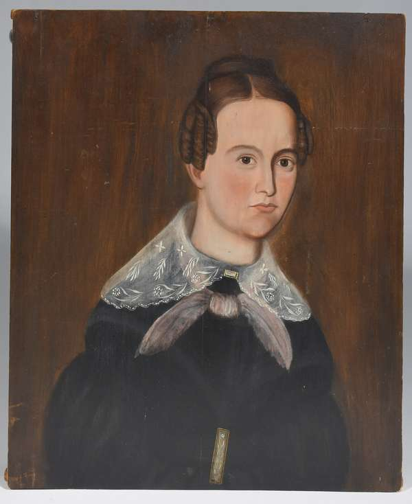 """Oil on wood panel, portrait of Sarah Thompson Gardner of Pownal VT, painted by Ralph D. Curtis,  26"""" x 22"""", ( see article by J.E. Jeninek on Ralph D. Curtis, a 19th C. Skaneateles NY folk painter)"""