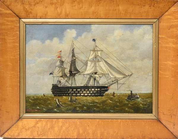 "Oil on canvas, ""H.M.S. Duke of Wellington Weighing Anchor, 1854"", signed lower left Walter Vernon, 10"" x 14"", in birdseye maple frame"