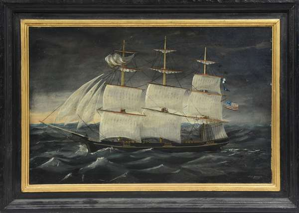 """Oil on canvas, ship USS Plymouth by James Fulton Pringle, Prov. Peabody Museum, Mass., 16"""" x 24"""""""
