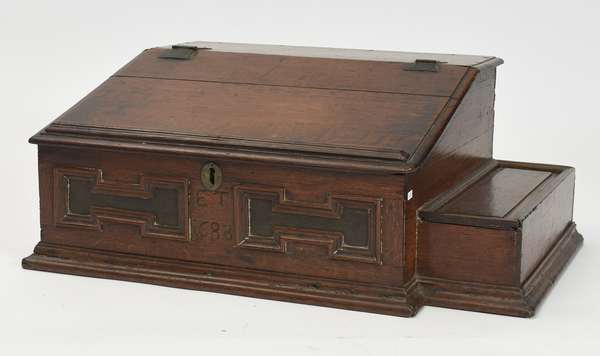 """Exceptional 17th C. Bible box/desk with attached candle box dated 1688, 30""""L x 21""""W x 13""""H"""