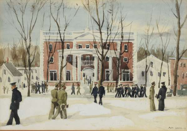 """Paul Sample watercolor, Dartmouth College scene with figures, Collis Center, signed and dated '43 lower right, 10"""" x 14"""" sight"""