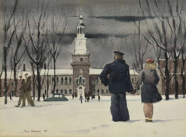"""Paul Sample watercolor, Dartmouth College scene, couple in front of Baker Library, signed and dated '44 lower left, 11.5"""" x 15.52"""" sight"""