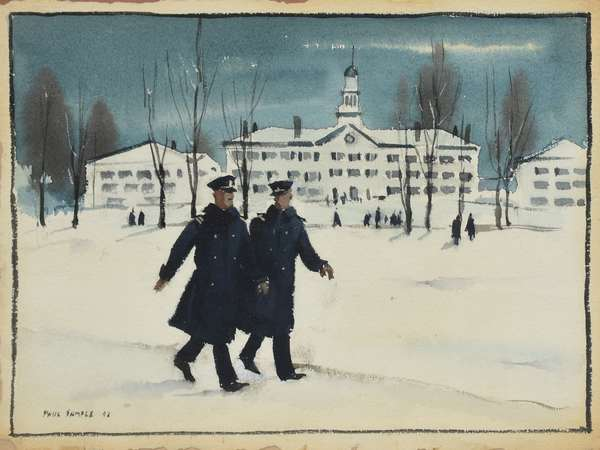 """Paul Sample watercolor, Dartmouth college scene, two officers in front of Dartmouth Hall, signed and dated '42 lower left, 9"""" x 12"""""""