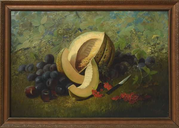 """Oil on canvas, still life with fruit by E. Peeters, 20"""" x 30"""""""