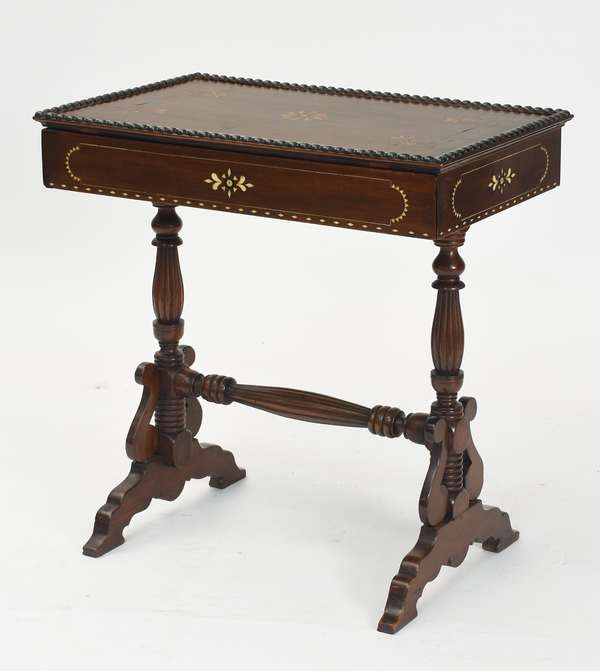 """Anglo-Indian rosewood one drawer side table with bone and other inlays, ca.1830-1840, 29""""L. x 17""""W. x 29""""H."""