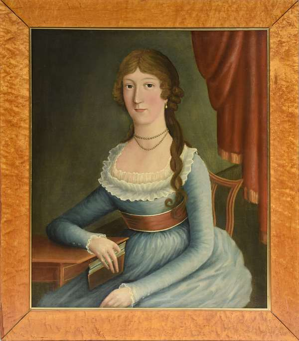 """Oil on canvas, portrait of a seated young woman with book, ca.1800, attributed to Ralph Earl, 31"""" x 25"""", in birdseye maple frame"""