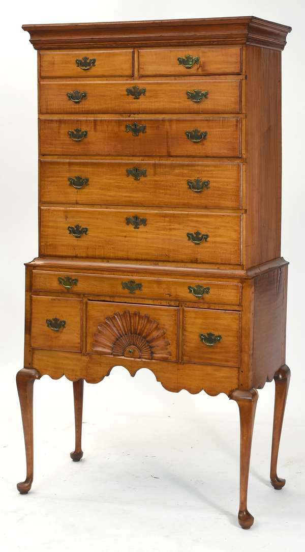 """18th C. Queen Anne maple New Hampshire school highboy with well scrolled apron and NH lobed fan carving, 83.5""""H. x 38""""W. x 19""""D"""