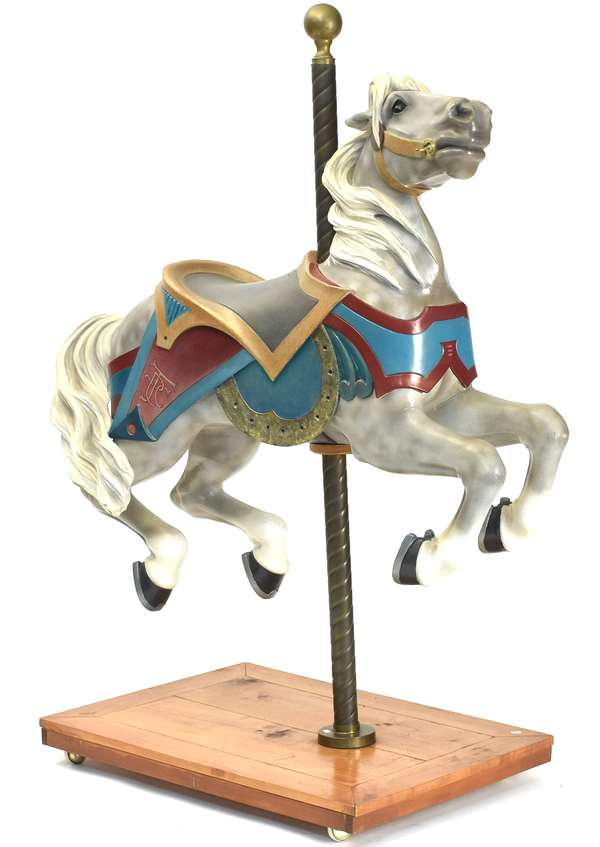 """Carved wooden carousel horse, by The Philadelphia Toboggan Co., ca.1917 carved by John Zalar. Provenance: This Jumper was a Marine Pier Horse #41 in Wildwood N.J., only 1 of 4 produced, size (horse only) 40""""H. x 51""""L."""