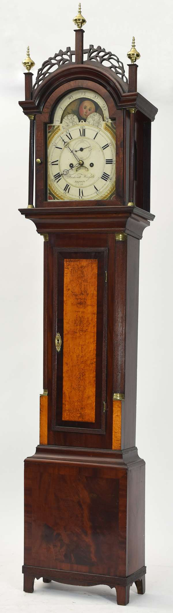 """Fine Federal tall case clock dial signed Frederick Wingate, Augusta, mahogany with birdseye veneer, and fretwork bonnet, 94""""H."""