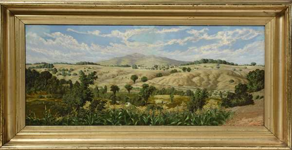 """19th C. oil on canvas, view of the White Mountains with Saco River in foreground initialed T.S.W., 16"""" x 34"""""""