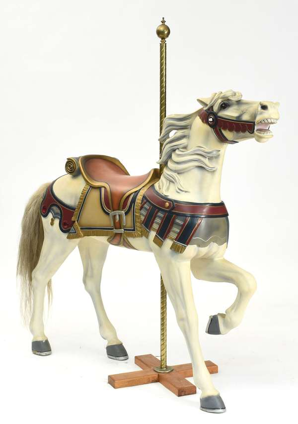 """Carousel horse, by Charles Carmel, 2nd Row Stander, ca.1905-1915, 52""""H. x 55""""L."""