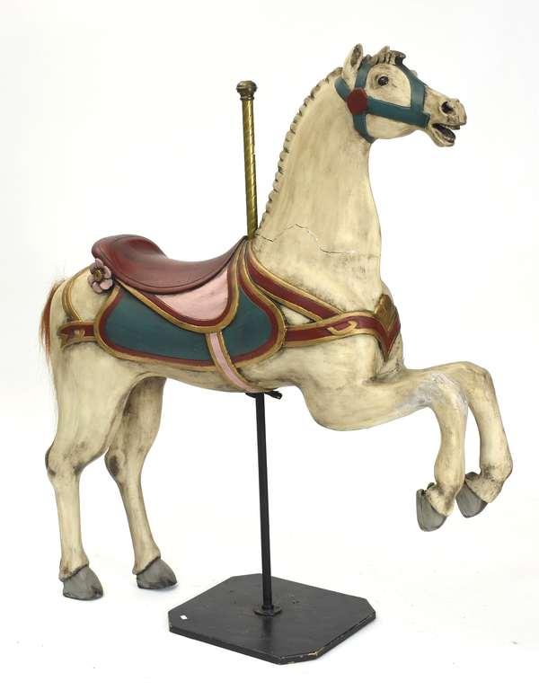 "Carousel horse, by E. Joy Morris, Prancer, 40""H. x 47""L."
