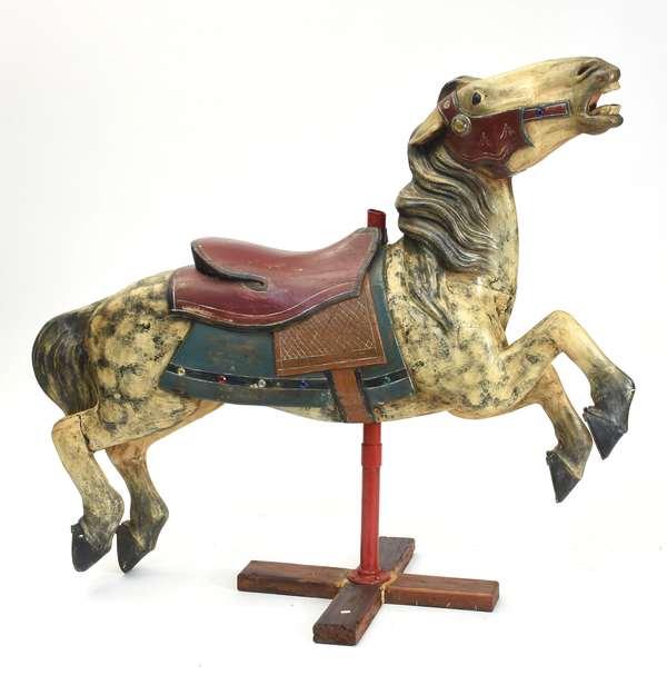 """Carousel horse, by Allan Herschell, Jumper ca.1920, 53""""L. x 40""""H."""