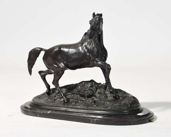 "Bronze sculpture signed P.J. Mene, Arab stallion, 14"" x 11""H."