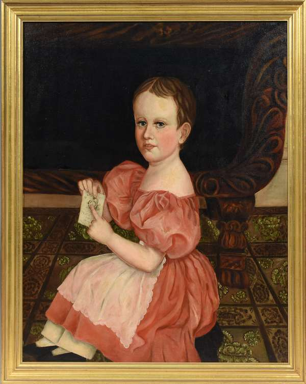 """Early 19th C. folk portrait of a child in red dress, canvas laid on board, 30"""" x 25"""""""